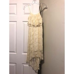 High Low Cream Lace Dress